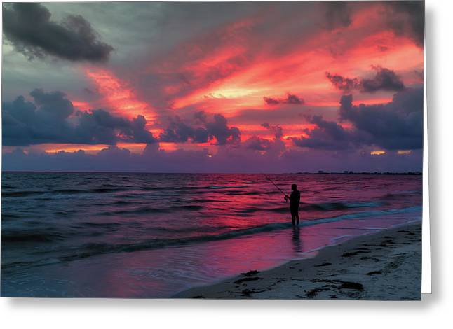 Surf Fishing At Sunset Greeting Card