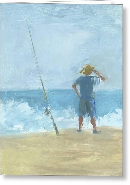 Surf Fishing Greeting Card by Chris N Rohrbach
