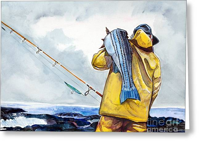 Surf Fishing Greeting Card by Dave Olsen
