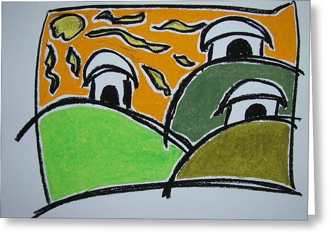 Surf Huts Greeting Card by Pat  Lackenbauer