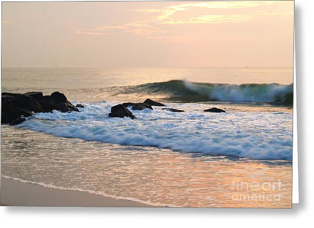 Surf In Peachy Ocean Grove Sunrise Greeting Card by Anna Lisa Yoder