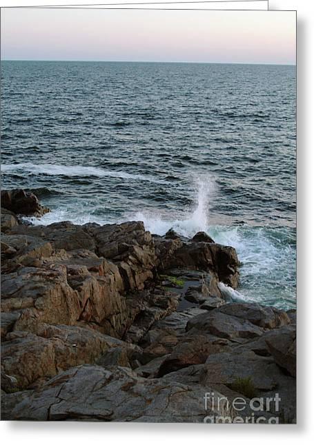 Surf On Rocks Greeting Card by Georgia Sheron