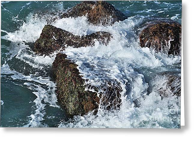 Surf On The Rocks Greeting Card by Kaye Menner
