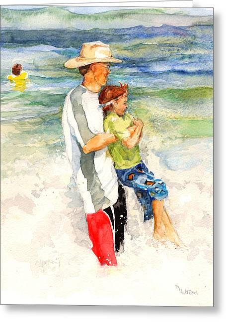Greeting Card featuring the painting Surf Play by Nancy Watson
