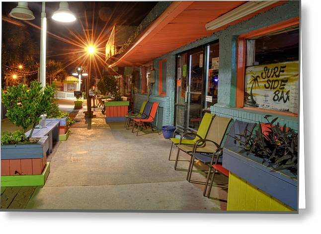 Surf Side Bar At Night Greeting Card by Greg Mimbs