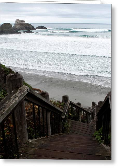 Surf Stairway Greeting Card by Lorraine Devon Wilke