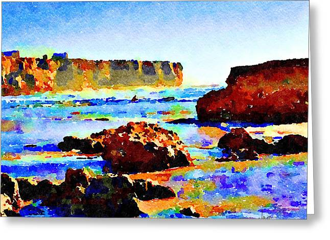 Greeting Card featuring the painting Surf The Headlands by Angela Treat Lyon