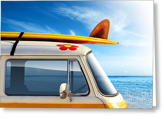 Sixties Greeting Cards - Surf Van Greeting Card by Carlos Caetano
