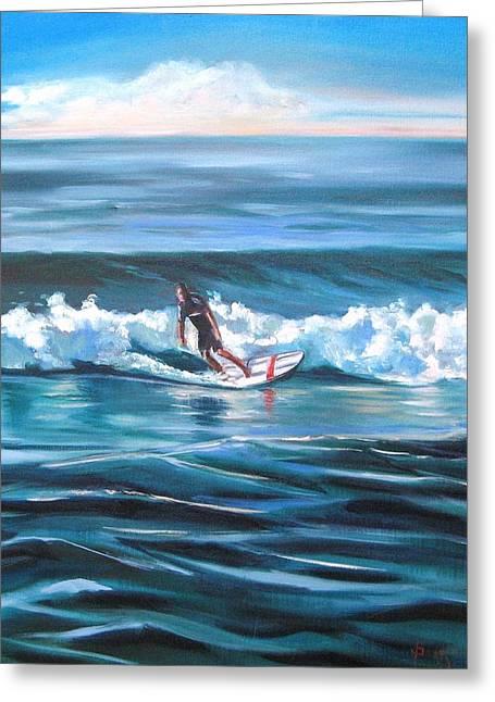 Surf Greeting Card by Yvonne Dagger