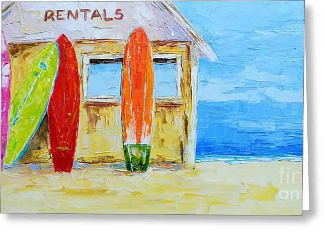 Surf Board Rental Shack At The Beach - Modern Impressionist Palette Knife Work Greeting Card