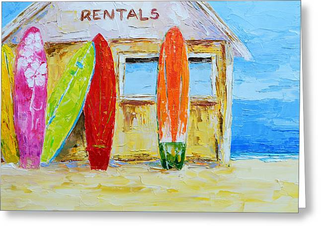Surf Board Rental Shack At The Beach - Modern Impressionist Palette Knife Work Greeting Card by Patricia Awapara