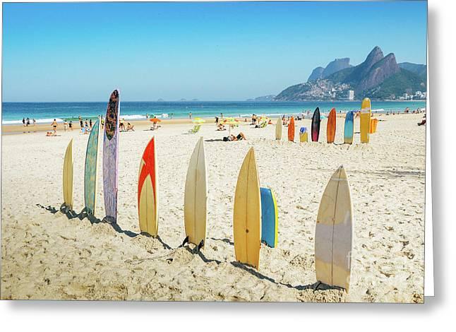 Surfboards On Ipanema Beach, Rio De Janeiro Greeting Card