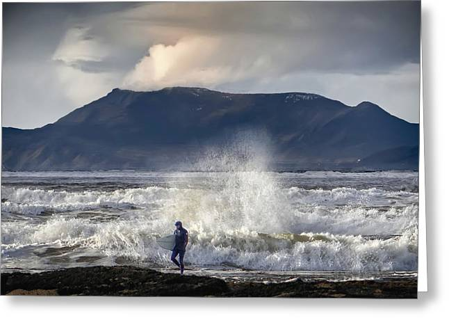 Surfer And A Big Wave Greeting Card