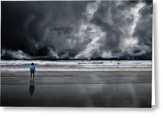 Surfer And An Angry Sky Greeting Card