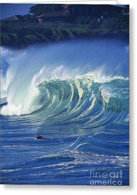 Surfer And Wave Greeting Card by Vince Cavataio - Printscapes