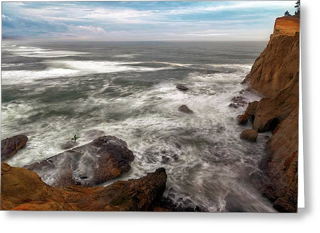 Surfer At Cape Kiwanda In Pacific City Greeting Card by David Gn