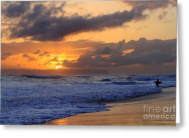 Surfer At Sunset On Kauai Beach With Niihau On Horizon Greeting Card