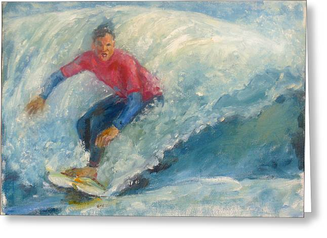 Surfer Greeting Card by Bin Feng