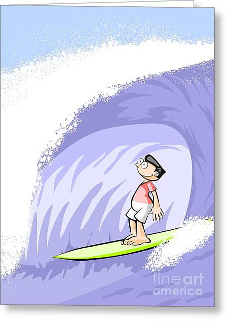 Surfer Boy Performing A Pipe Greeting Card