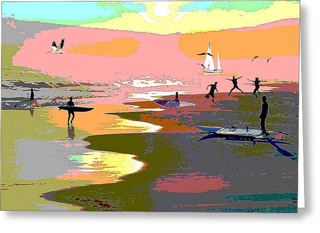 Surfer Boys Greeting Card by Charles Shoup