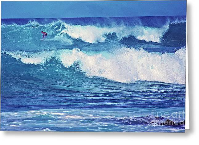 Surfer Catching A Wave Greeting Card