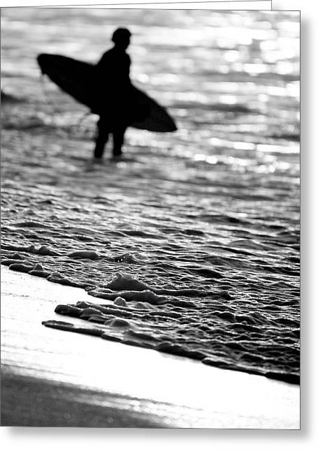 Surfer Foam Greeting Card by Sean Davey