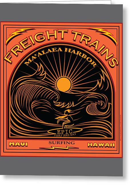 Surfer Freight Trains Maui Hawaii Greeting Card