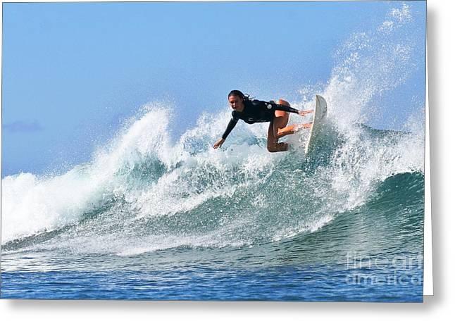 Surfer Girl At Bowls 5 Greeting Card