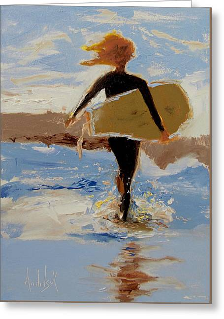 Surfer Girl Greeting Card by Barbara Andolsek