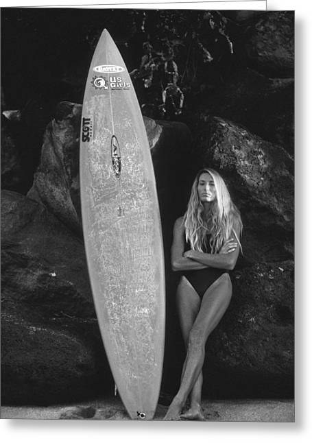 Surfer Girl - North Shore Greeting Card by Sean Davey