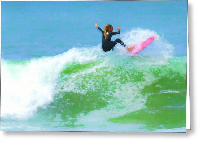 Surfer Girl Watercolor Greeting Card