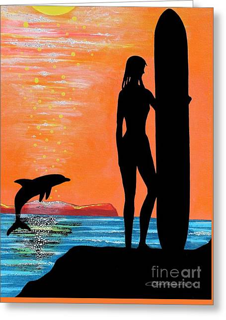 Surfer Girl With Dolphin Greeting Card