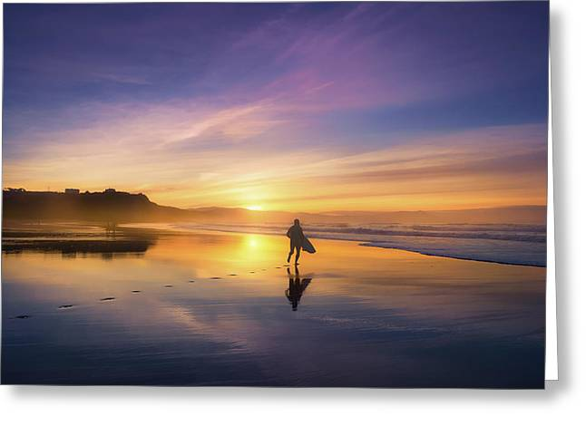 Surfer In Beach At Sunset Greeting Card