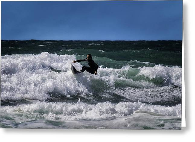 Surfer Greeting Card by Linda Cooke