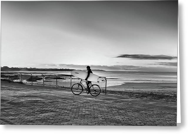 Surfer On A Bike Greeting Card