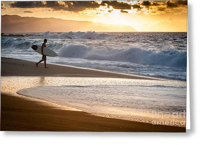 Surfer On Beach Greeting Card