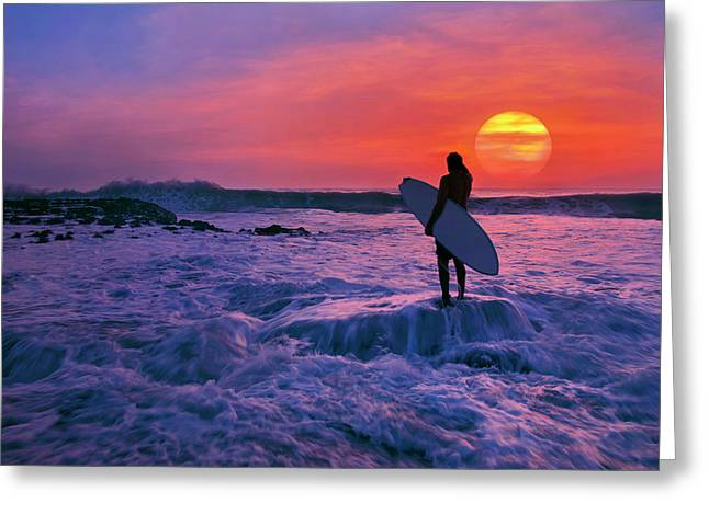 Greeting Card featuring the photograph Surfer On Rock Looking Out From Blowing Rocks Preserve On Jupiter Island by Justin Kelefas