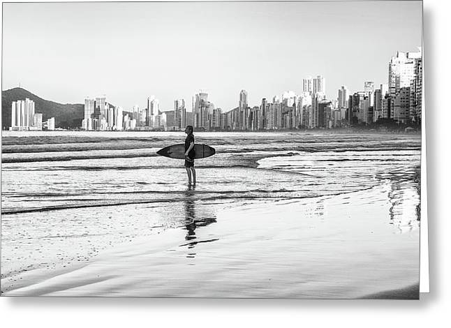 Surfer On The Beach Greeting Card