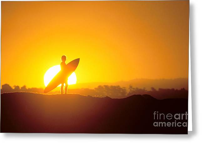 Surfer Silhouetted At Sun Greeting Card by Erik Aeder - Printscapes