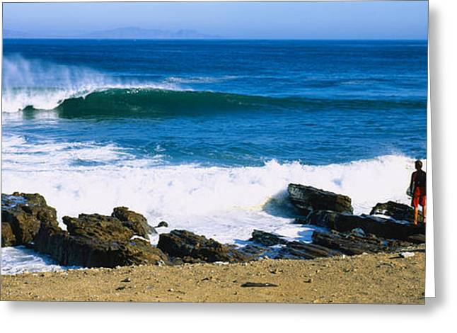 California Beach Greeting Cards - Surfer Standing On The Beach Greeting Card by Panoramic Images