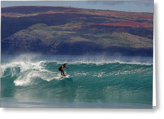 Surfer Surfing The Blue Waves At Dumps Maui Hawaii Greeting Card by Pierre Leclerc Photography