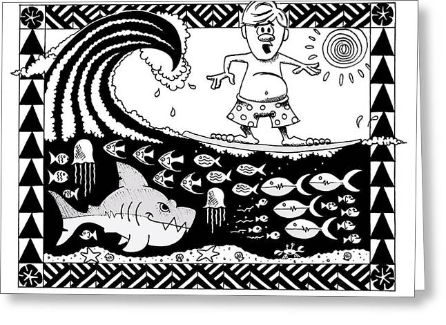 Surfer Toon Greeting Card by Aaron Bodtcher