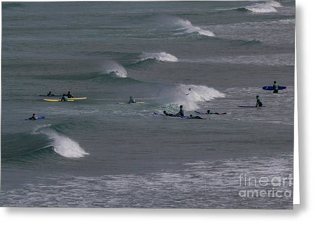 Greeting Card featuring the photograph Photographs Of Cornwall Surfers At Fistral by Brian Roscorla