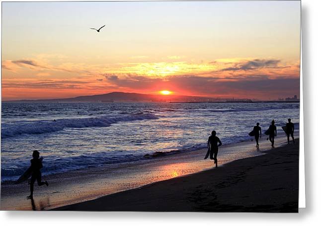 Surfers At Sunset Greeting Card by Frank Freni