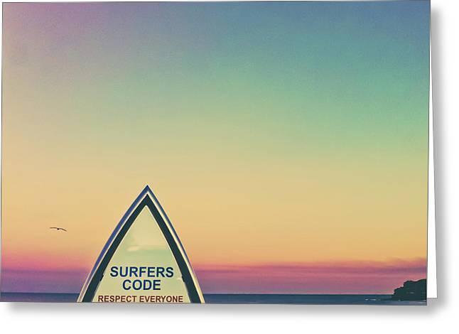Surfers Code Greeting Card by Az Jackson