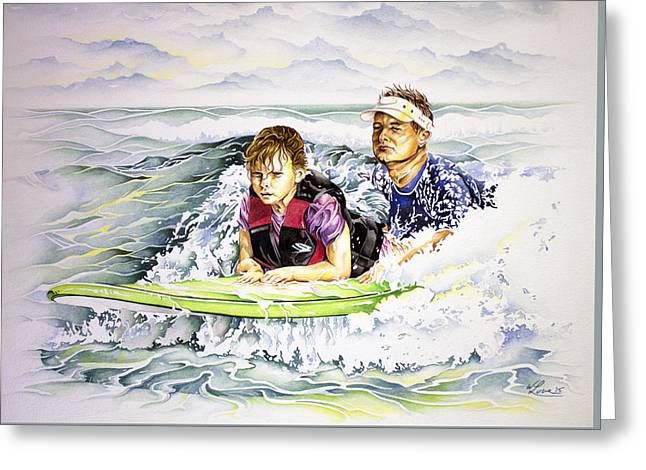Surfers Healing Greeting Card by William Love