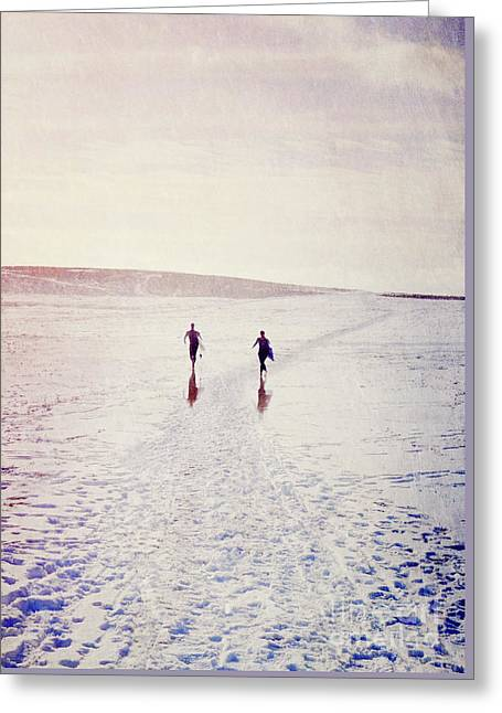 Greeting Card featuring the photograph Surfers In The Snow by Lyn Randle