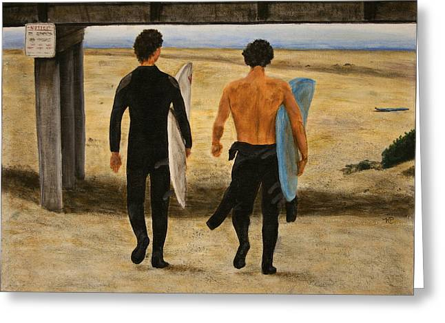 Surfers Greeting Card by Karen Peterson