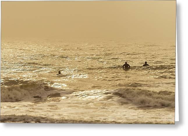 Surfers On Folly Beach Greeting Card by Serge Skiba