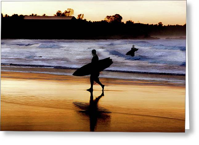 Surfers On The Beach At Sunset Greeting Card by Elaine Plesser